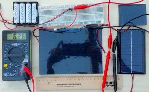 Messaufbau für solare Energieversorgung