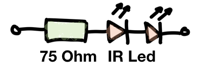 Schaltplan der Infrarot-Beleuchtung mit zwei IR-Leds