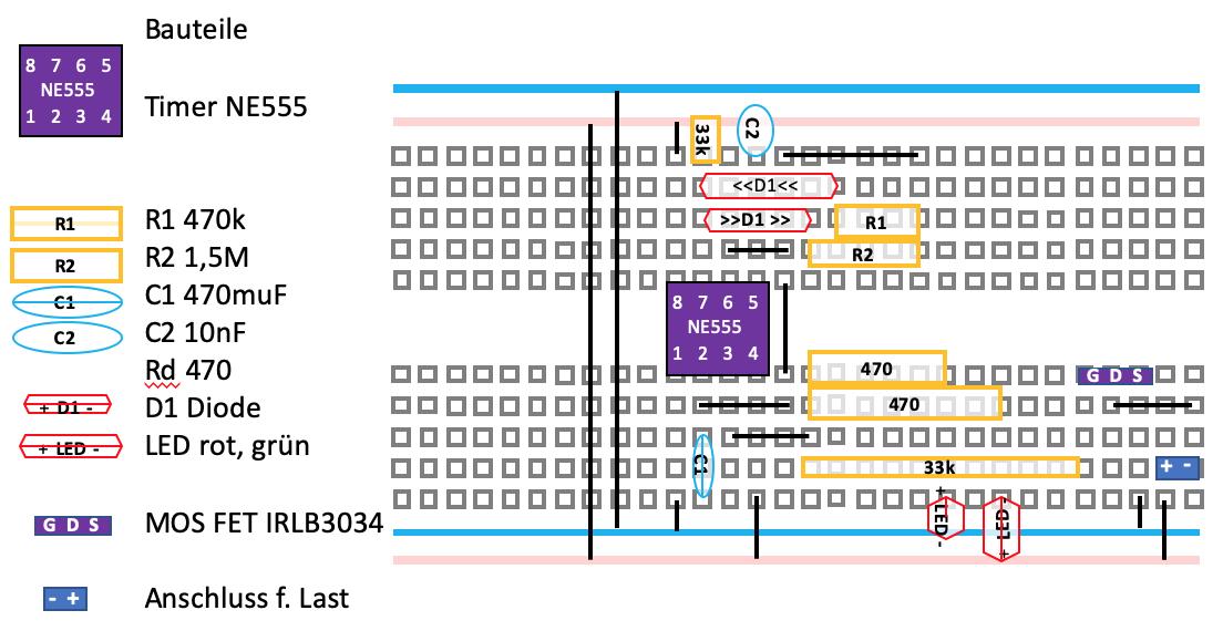 Aufbau der Energiemanagment Schaltung mit dem NE555 auf einem Breadboard für den Akku-Betrieb