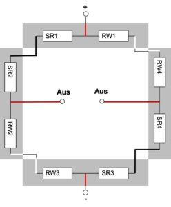 Brückenschaltung mit vier preiswerten Wägezellen