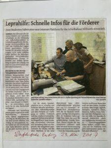 Artikel WZ (Westdeutsche Zeitung) Leprahilfe: Schnelle Infos für die Förderer