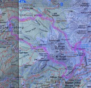 Karte Markierung rund um den Ifinger