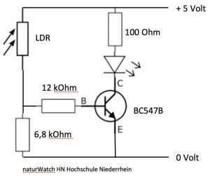 Abbildung 1: Schaltung für die adaptive Nistkastenbeleuchtung.